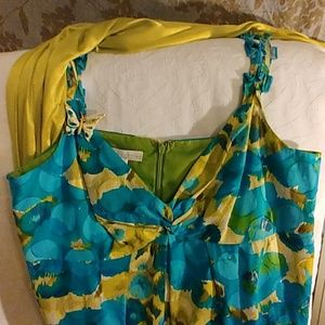 🌼Teal/lime mini strappy dress size 14